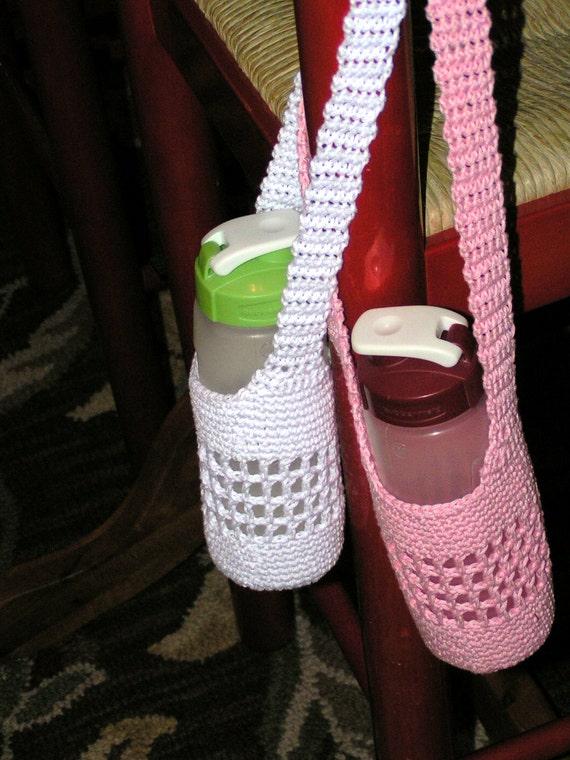 Water Bottle totes - Mercerized crochet cotton