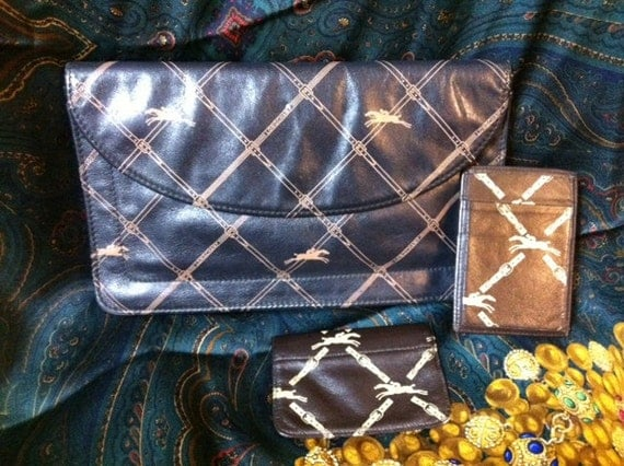 3pcs SET of Longchamp Vintage monogram clutch, pass case, and coin case