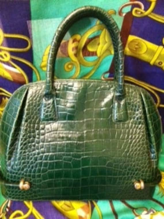 80s Vintage BALLY croc embossed green leather purse.