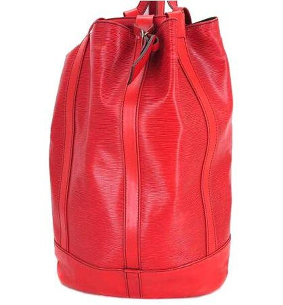 80s vintage Louis Vuitton epi randonee GM purse, red.  red epi hobo unisex for all generations