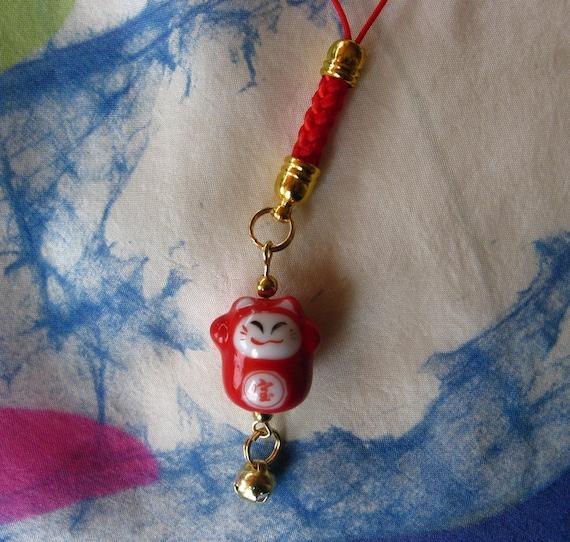 Maneki Neko Lucky Beckoning Cat cell phone/handbag porcelain charm with braided lanyard and Bell