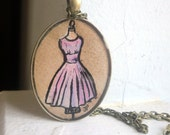 Vintage Dress Necklace, Pink Dress Original Hand Painted Watercolor Art Pendant