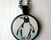 Penguin Necklace, Original Watercolor Art Necklace, Hand Painted Pendant