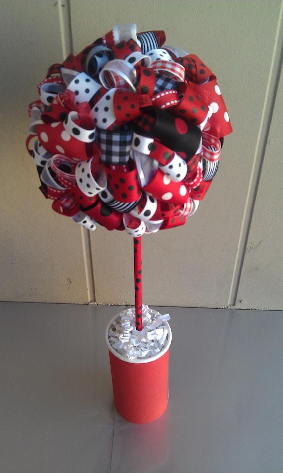 Ribbon topiary in ladybug theme red white black