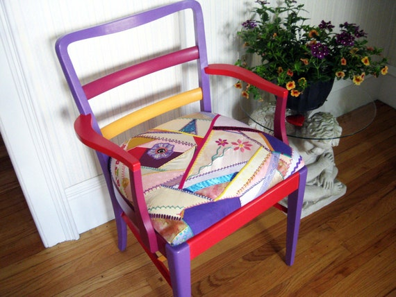 Handpainted Recycled Crazy Quilt Arm Chair
