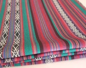 Tribal Fabric, Latin American, Ethnic, Teal Pink Stripes, 1 Meter by 1.5 Meters / over 1 Yard