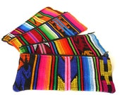 Woven Tribal Fabric Pouch, Bright Neon Colors