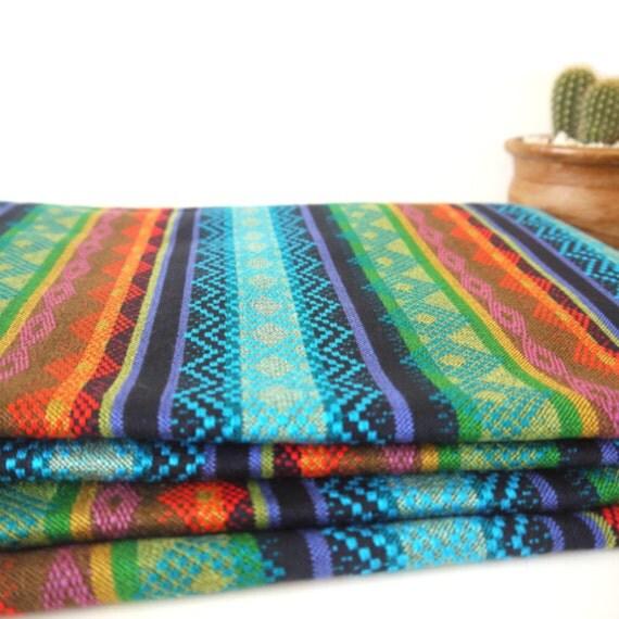 Tribal Fabric, Latin American, Navajo, Ethnic, Bright Colors Stripes, 1 Meter / over 1 Yard