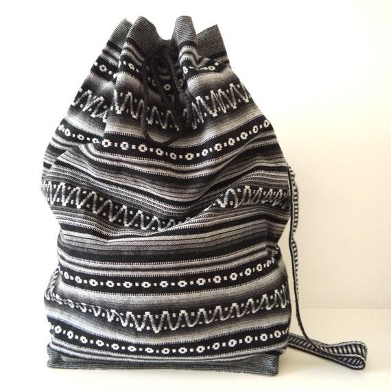 Tribal Fabric Backpack, Latin American, Peru, Black Grey Stripes