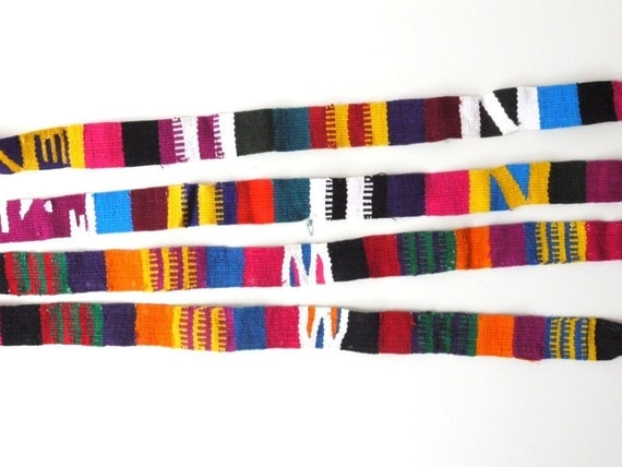 Tribal Pattern Fabric Trim, Straps, Colorful Woven, Navajo Ethnic, Set of 2