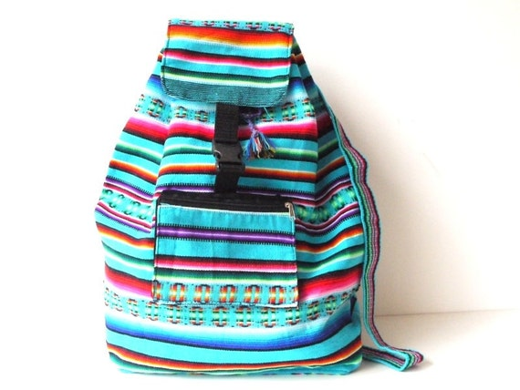 Tribal Fabric Backpack, Latin American, Peru, Blue Colorful Stripes