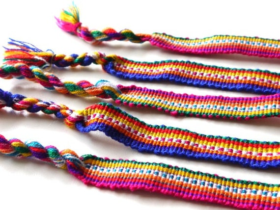 Friendship Bracelets, South American Textile Fabric Braided Bracelets, SET OF 5