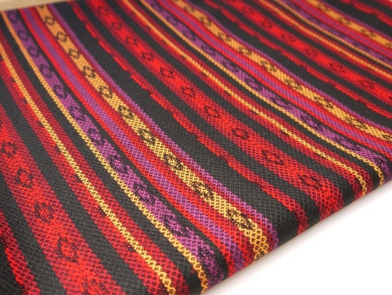 Tribal Fabric, Latin American, Dark Red, Black, Long 1/2 Meter Piece