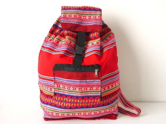 Tribal Fabric Backpack, Latin American, Peru, Bright Red Stripes