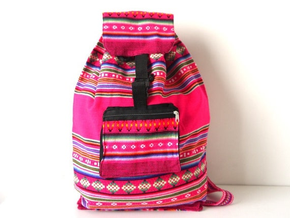 Tribal Fabric Backpack, Latin American, Peru, Bright Pink Colorful Stripes