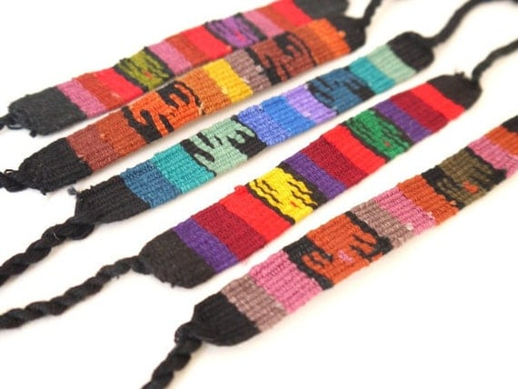 Friendship Bracelets, South American Woven Textile Bracelets, SET OF 5