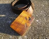 Reclaimed Wood Belt Buckle - Hickory