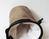 Simple Brown Olive Green Canvas Chalk Bag - Rock Climbing - Small