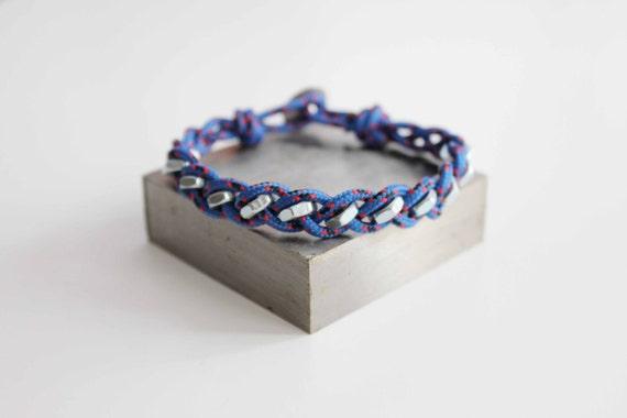 Geometric Hex Rope Bracelet - Blue