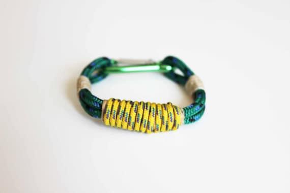 Carabiner Rope Bracelet - Green Yellow Hemp