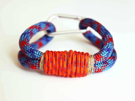 Carabiner Rope Bracelet - Blue Red Orange Hemp