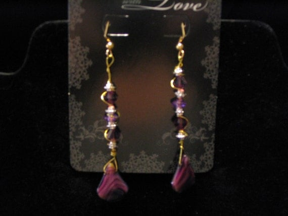 2 1/4 inSwarovski Crystal Facet Amethyst with Larger Amethyst Tri Shape Earrings