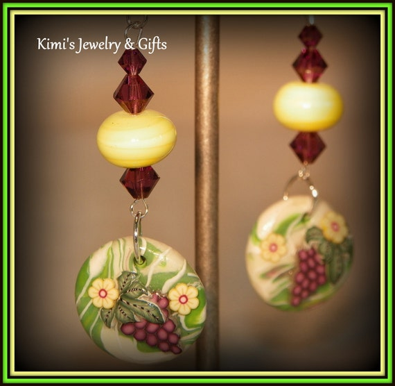 Earrings - Polymer clay Grapes with Yellow Lamp Work Glass