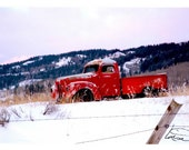 Old red truck, snow, Wyoming, photographic greeting card, mountain scene, blank, paper, horizontal