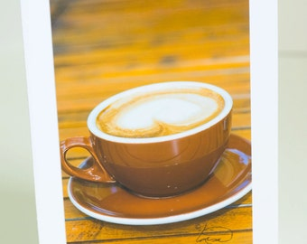 Handmade photographic greeting card of a latte, blank, paper, vertical