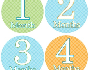 Boy MONTHLY Milestone STICKERS - Boy Month Stickers - Green, Blue & Orange Monthly Milestone Stickers - Noah