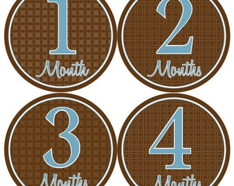 MONTHLY Milestone STICKERS - Boy Monthly Milestones - Blue & Brown Baby Month Stickers - Dennis