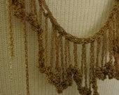 Crochet sterling silver and brass long bib necklace