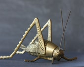 RESERVED FOR LEXIE Vintage Antique Solid Brass Cricket With Adjustable Legs and Moveable Antennae