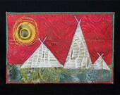 Fabric postcard of triangles-sun series