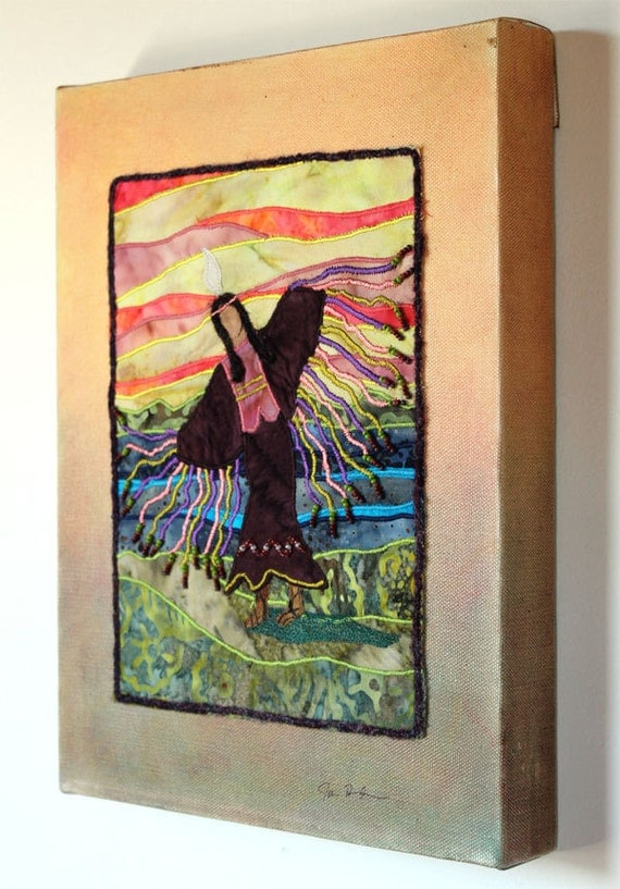 Native American Fancy Shawl Dancer, art quilt on canvas
