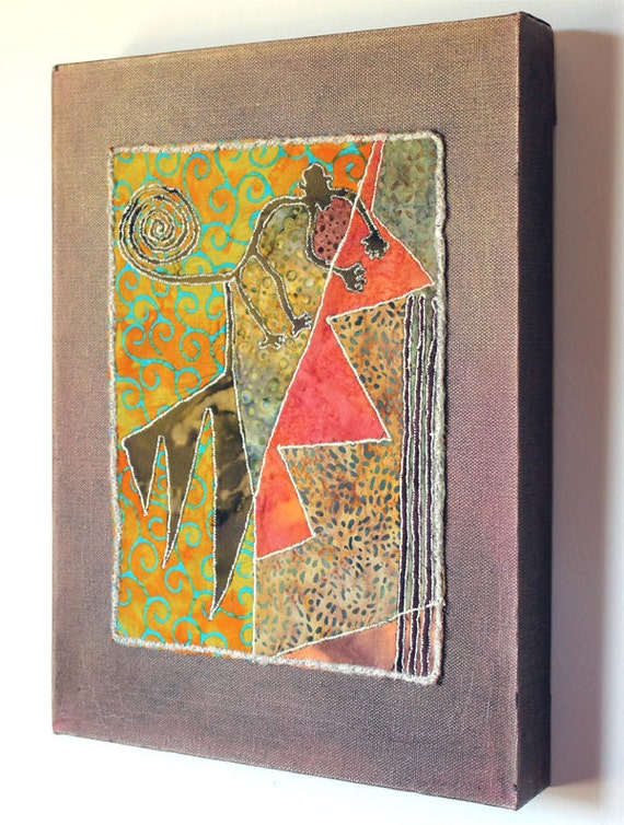 Nazca Lines, art quilt on canvas