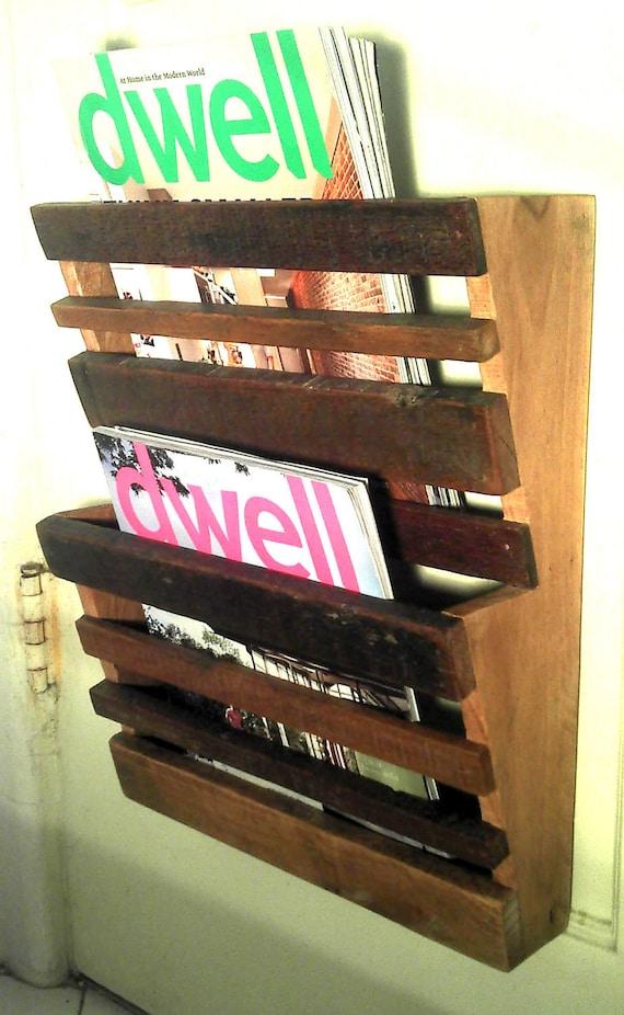 Reclaimed wood magazine rack