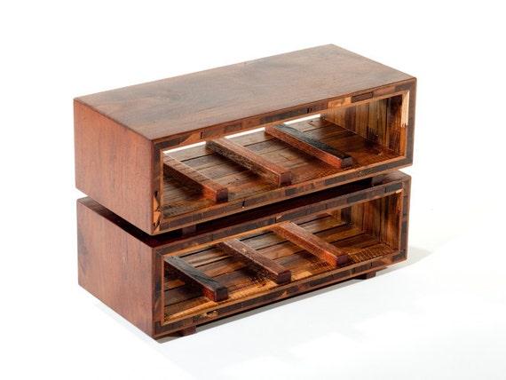15% off sale /// Teak and mahogany reclaimed wood wine rack or craft beer holder. Mid century