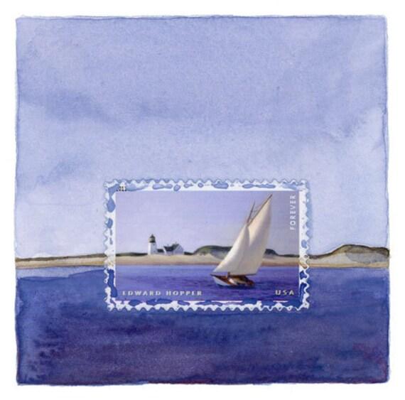 Original Framed Art: Edward Hopper Sailboat Postage Stamp Painting