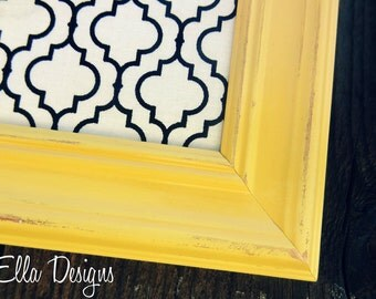 Yellow Framed Magnet Board 11 x 14 Designer Fabric