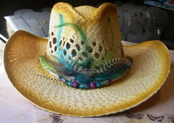 Peacock Feather Cowboy Hat  -With Genuine Gemstones-