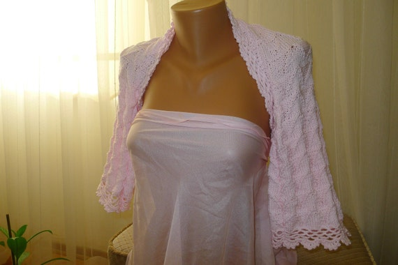 Free Shipping light pink Bolero - Knitted Shrug Bolero- Chic Elegant Women Accessories - Spring Summer Fashion, jacket  bolero, crochet ,