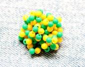 Retro Bright colour small Stud Earrings (Yellow & Green beaded pom pom)