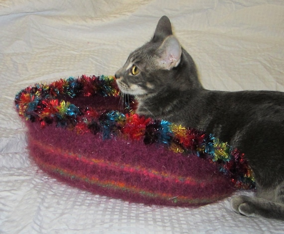 """Handknit Felted Cat Bed """"Carnival"""""""