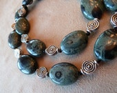 ON SALE Beaded Necklace with Kimbabwe Jasper and Decorative Silver Beads