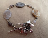 Beaded Bracelet with Semi Precious Stones and Decorative Silver Beads