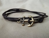 Brown Waxed Cotton Cord Wrap Bracelet with large Antique Brass Anchor featuring adjustable slip knot