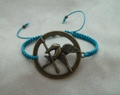 Blue Green Macrame Bracelet with Antique Brass Jay charm & Sliding Adjustable Closure