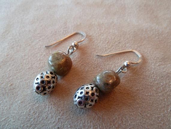 ON SALE Autumn Jasper Earrings on Sterling Silver Earwire