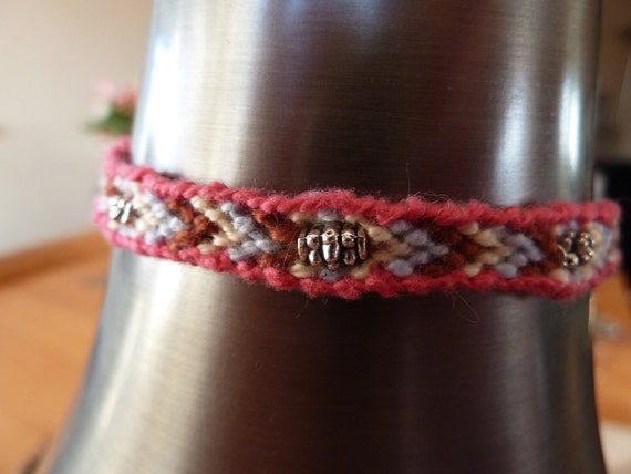 Beaded Chevron Stripe Knotted Friendship Bracelet with Sliding Adjustable Closure
